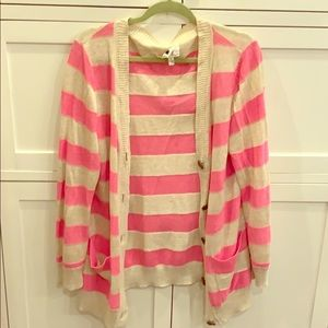 Milly Pink & Cream stripped cardigan